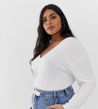Asos DESIGN Curve oversized tunic with v-neck in white