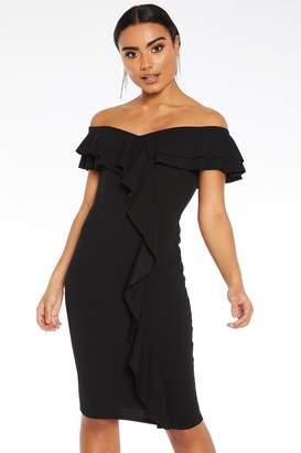 Quiz Black Frill Bardot Midi Dress