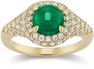 Muzo Emerald Colombia Michelle Fantaci X Muzo Round Cabochon Emerald & Diamond Ring