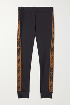 Fendi Ages 8 - 12 Jacquard-trimmed Stretch-jersey Leggings