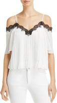 Alice + Olivia Fefe Pleated Cold-Shoulder Blouse