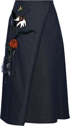 Carolina Herrera Wrap-effect Floral-appliqued Embellished Denim Skirt