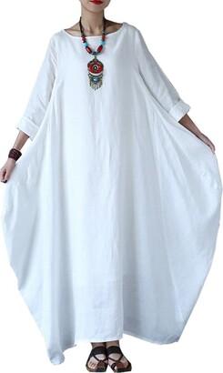 Carolilly Women Boho Dress Casual Irregular Maxi Dresses Long Sleeve Cotton Linen Dress(S-5XL) (4XL