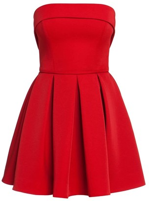Bandeau Pleated Skater Dress In Red