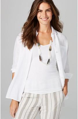 J. Jill J.Jill Button Front Long Sleeve Linen Easy Shirt