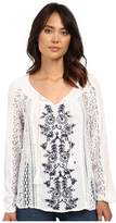O Holland Woven Embroidered Sleeved Top