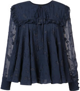 Co ruffle trim jacquard blouse - women - Silk/Polyamide - M