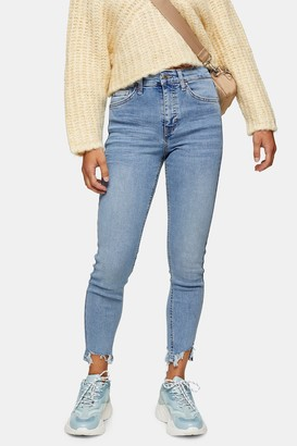 Topshop Womens Petite Bleach Jagged Hem Jamie Skinny Jeans - Bleach Stone
