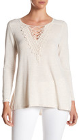 Bobeau Long Sleeve Striped Crochet Shirt