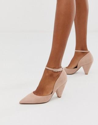 ASOS DESIGN Speak Out pointed mid-heels in beige