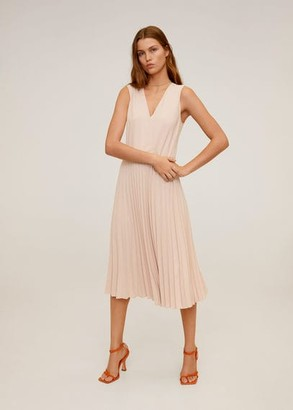 MANGO Pleated midi dress pastel pink - 6 - Women
