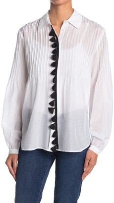 7 For All Mankind Contrast Tassel Pintuck Shirt