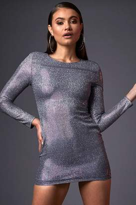 I SAW IT FIRST Blue Long Sleeve Shimmer Dress
