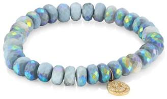 Sydney Evan 14K Yellow Gold, Pave Diamond & African Opal Happy Face Beaded Bracelet