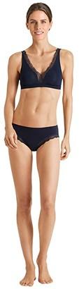 Hanro Cotton Lace High-Cut Brief (Deep Navy) Women's Underwear