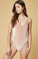 MinkPink Plunge Velvet Bodysuit