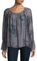 Le Marais Long Sleeves Floral Silk Denim Blouse