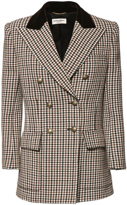 Saint Laurent Houndstooth Wool Double Breast Jacket