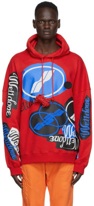 we11done Red Stacked Logo Hoodie