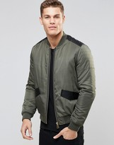 Asos Bomber Jacket With Faux Leather Detailling In Khaki