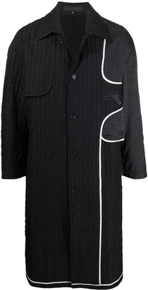 Harrison Wong Ribbed Contrast Panel Single-Breasted Coat