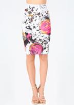 Bebe Petite Print Midi Skirt