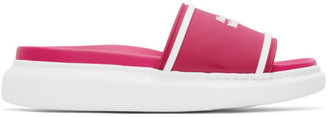Alexander McQueen Pink and White Rubber Logo Sandals