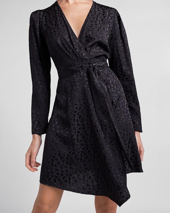 Express Leopard Jacquard Puff Sleeve Wrap Dress