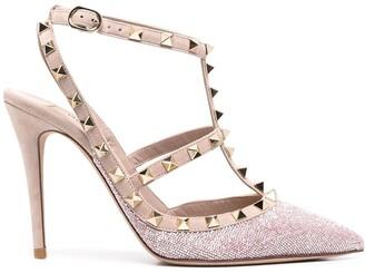 Valentino Rockstud 100mm glitter ankle-strap pumps
