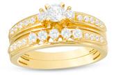Zales 5/8 CT. T.W. Diamond Three Stone Bridal Set in 14K Gold