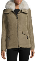 Peuterey Felicity Fur-Trim Water-Repellant Jacket, Green