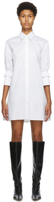 Victoria Victoria Beckham White Ruffle Cuff Shirt Dress