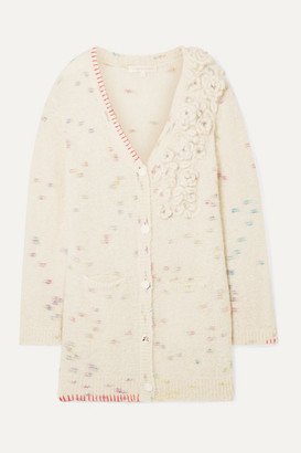 LoveShackFancy Emmanuelle Embellished Appliqued Knitted Cardigan - Cream