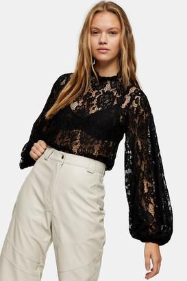 Topshop Black Volume Sleeve Lace Top