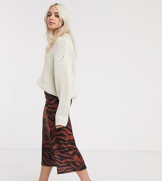 Asos DESIGN Petite jersey midi bias skirt with split in zebra print