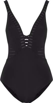 Jets Parallels Plunged Mesh-trimmed Swimsuit