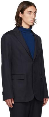 Blue Blue Japan Navy Wool Rainfall Stripe Blazer