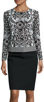 Isabella Collection Long-Sleeve Jaquard Jacket Skirt Suit