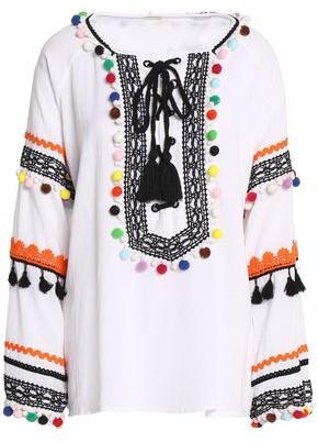 Dodo Bar Or Pompom-embellished Cotton-gauze Blouse