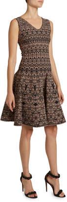 Alaia Campanelle Print V-Neck Fit & Flare Dress