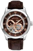 Bulova Stainless Steel Leather Strap Watch 96a120