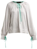 Anna October - Contrast Piped Silk And Lame Blouse - Womens - Silver