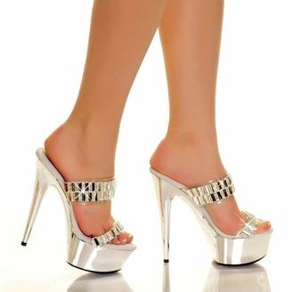 """The Highest Heel Glamorous-31 6"""" Heel Platform Sandals with Embellished Straps"""