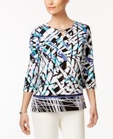Alfred Dunner Petite Printed Keyhole Top