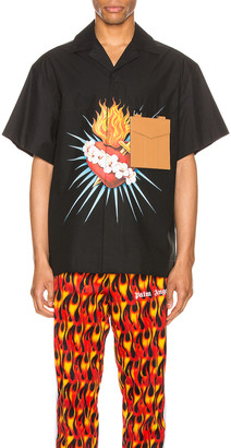Palm Angels Front Sacred Heart Shirt in Black & Multi | FWRD