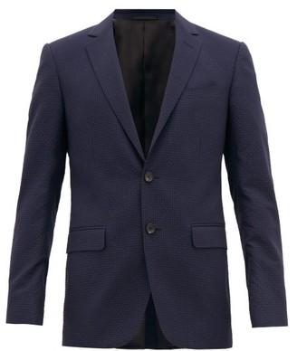 Lanvin Single-breasted Wool-blend Seersucker Jacket - Mens - Navy