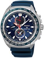 Seiko Ssc489p1 Prospex Chronograph World Time Rubber Strap Watch, Blue