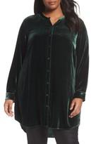 Eileen Fisher Plus Size Women's Long Velvet Shirt