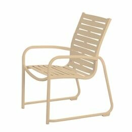 Millennia Stacking Patio Dining Chair with Cushion Tropitone Finish: Parchment, Seat Color: Royal Blue Vinyl