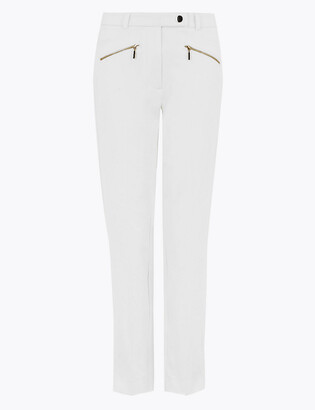 Marks and Spencer Mia Slim Cotton Ankle Grazer Trousers